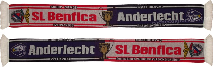 cachecol benfica anderlecht liga campeoes 2013-14